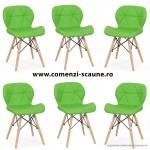 Set 6 scaune de bucatarie din piele si lemn