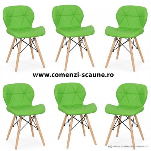 Set 6 scaune de bucatarie din piele si lemn-verde