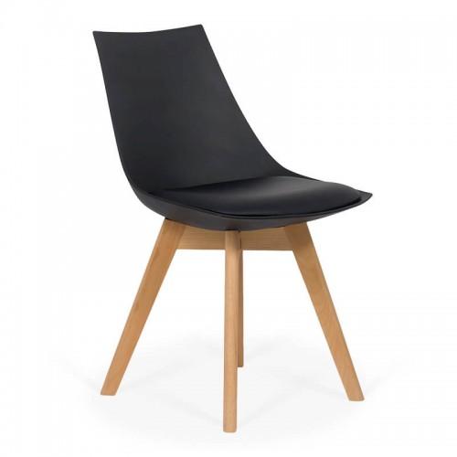 Scaun bucatarie-living cu picioare din lemn in 3 culori