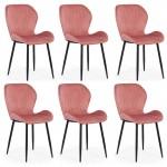 Set 6 scaune bucatarie-living din catifea in 3 culori