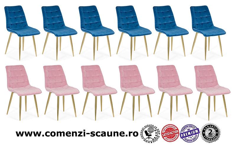 Set 6 scaune pentru bucătărie din catifea pe cadru auriu-1