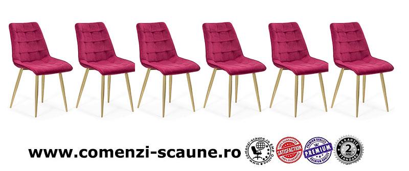 Set 6 scaune pentru bucatarie din catifea pe cadru auriu-visiniu