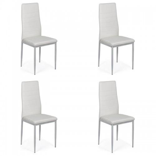 Set 4 scaune de bucatarie din piele ecologica alba-BUC263
