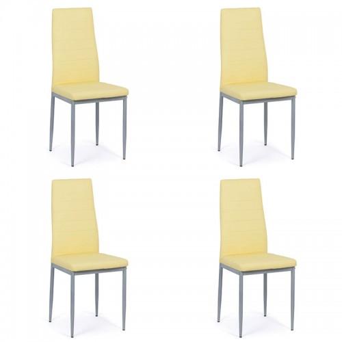Set 4 scaune de bucatarie din piele ecologica crem-BUC263