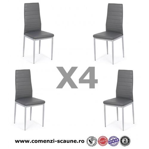 Set 4 scaune de bucatarie din piele ecologica gri-BUC263