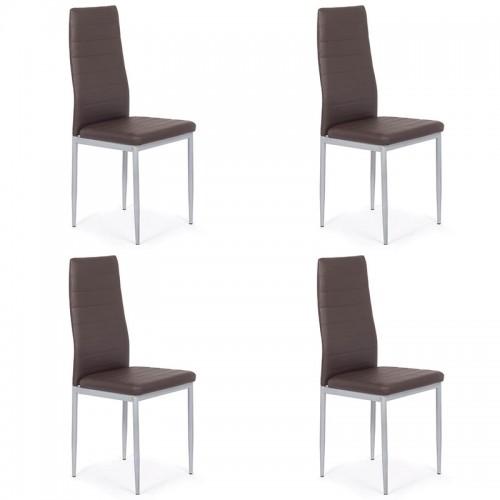 Set 4 scaune de bucatarie din piele ecologica maro-BUC263