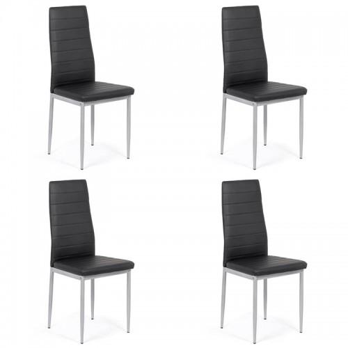 Set 4 scaune de bucatarie din piele ecologica neagra-BUC263