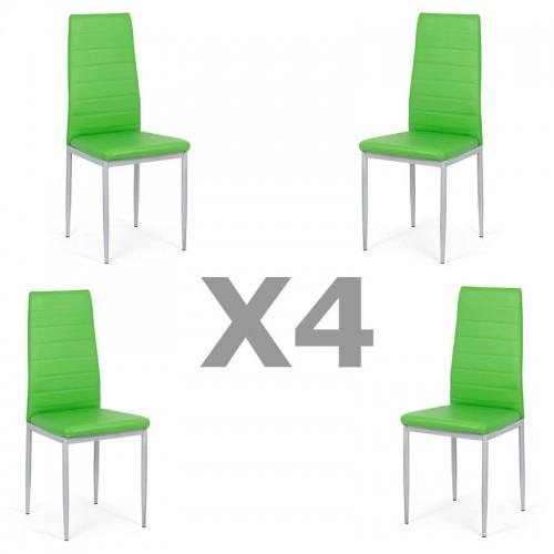 Set 4 scaune de bucatarie din piele ecologica verde-BUC263