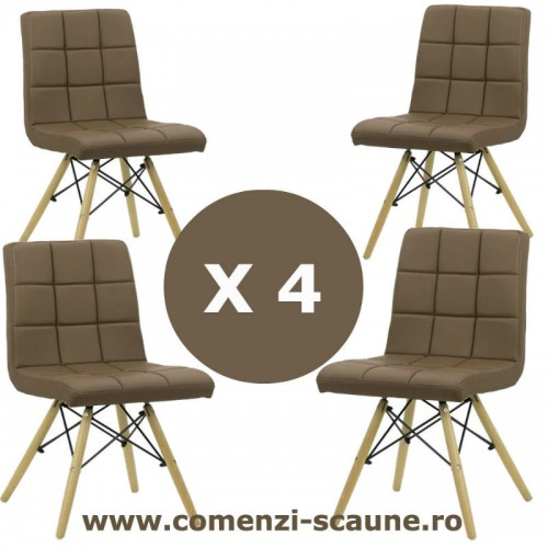 Set 4 scaune de bucatarie cu picioare din lemn