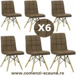 Set 6 scaune de bucatarie cu picioare din lemn