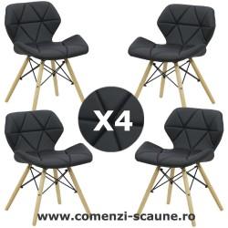 Set 4 scaune de bucatarie din piele si lemn