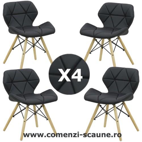 Set 4 scaune de bucatarie din piele și lemn