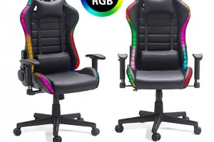 Scaune de gaming iluminate cu LED-RGB-control wireless