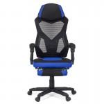 Scaun de birou cu suport de picioare albastru cu negru