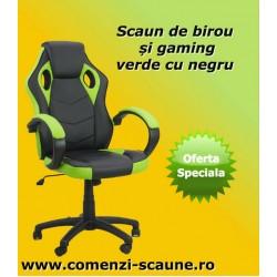 Scaun de gaming negru cu verde