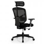 Scaun ergonomic Enjoy cu tetiera tapitat cu stofa pe sezut si baza neagra