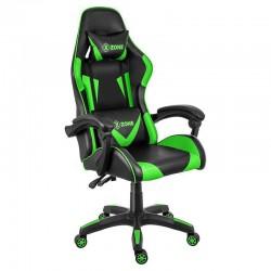 Scaun de gaming si birou din piele pe culoarea negru cu verde