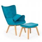 Fotoliu elegant din catifea cu scaun pentru suport picioare si pernuta
