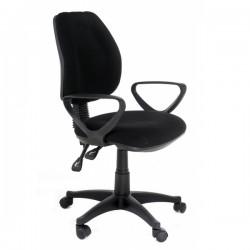 Scaun birou spatarul si sezutul tapitate cu stofa neagra