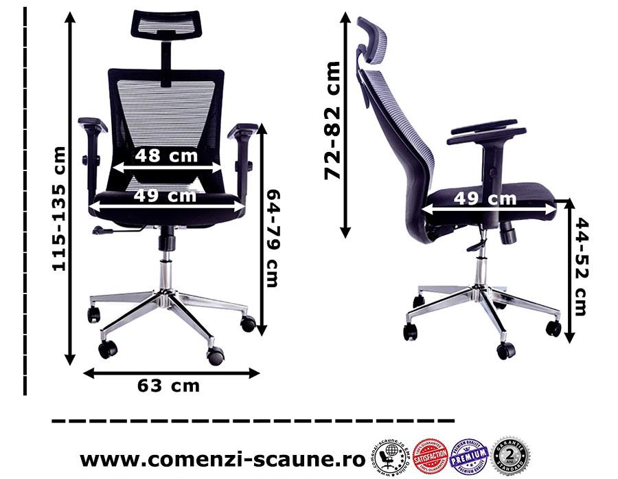 Dimensiuni scaun ergonomic pentru birou cu baza metalică și tetieră-8039