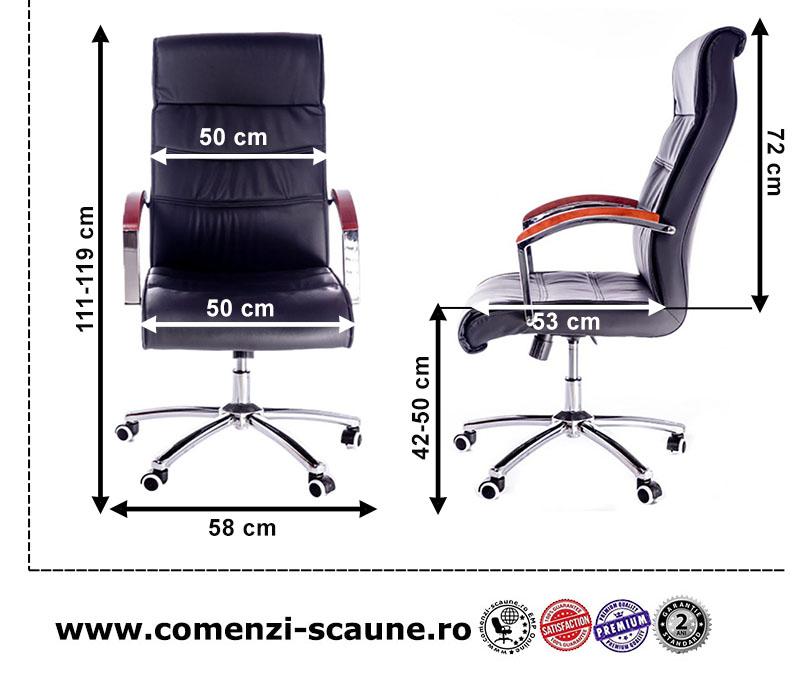 Dimensiuni scaun directorial tapitat cu piele ECO si baza metalica-823