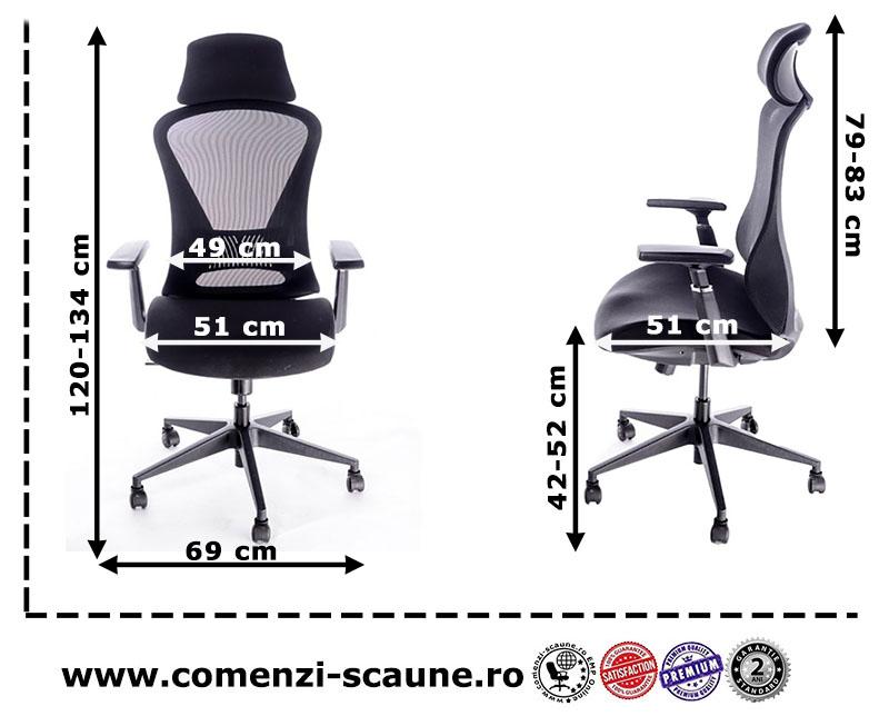 Dimensiuni scaun ergonomic pentru birou cu tetieră și brațe reglabile-K2