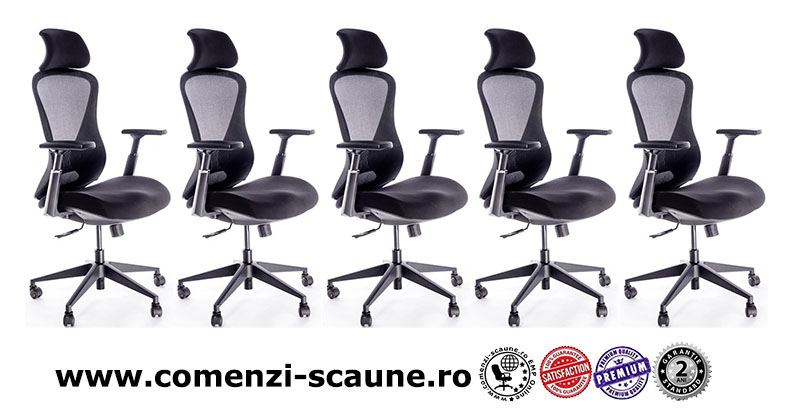 scaune ergonomice pentru birou cu baza metalică și tetieră-8039
