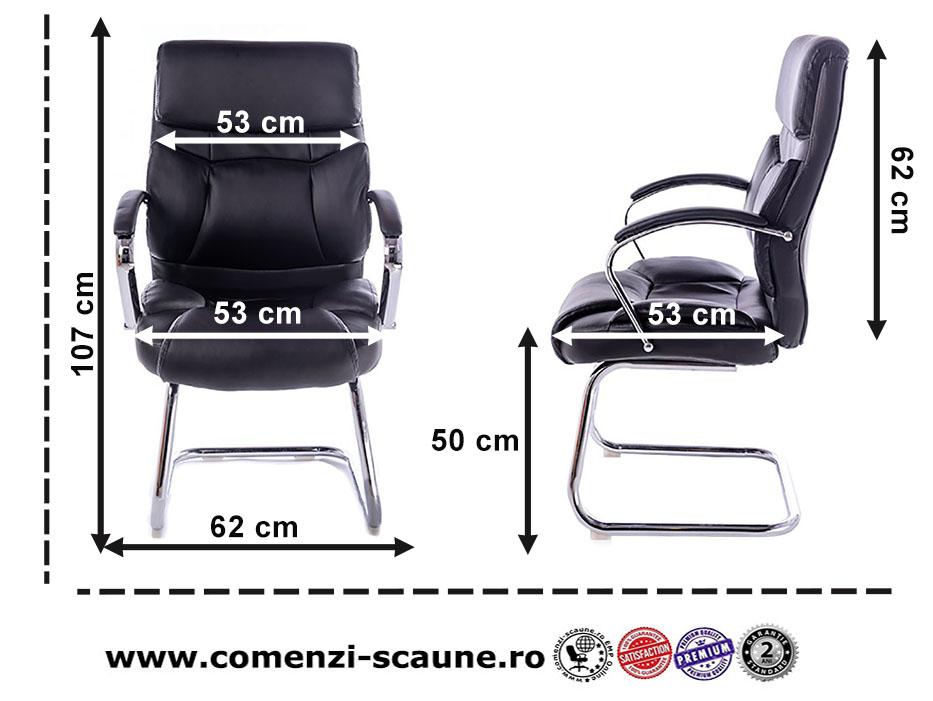 Scaun pentru birou și săli de conferință-bază tip sanie metalică-667V-2