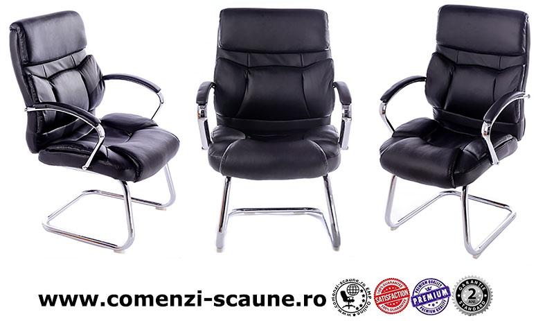 Scaun pentru birou și săli de conferință-bază tip sanie metalică-667V-1