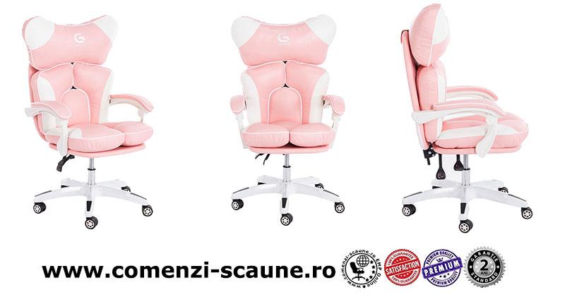 5 modele de scaune pentru birou si gaming pe culoarea roz-pink cu burete