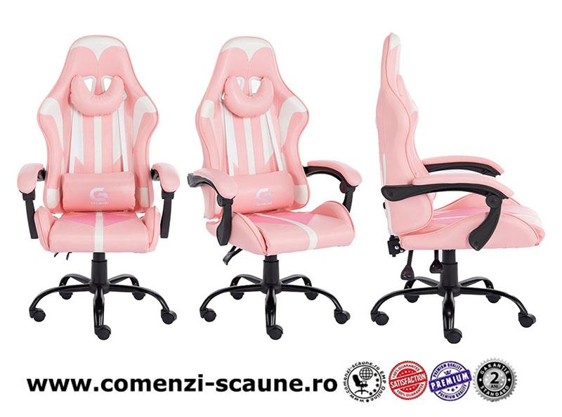 Scaun de gaming cu spătar reglabil pe culoarea roz-005