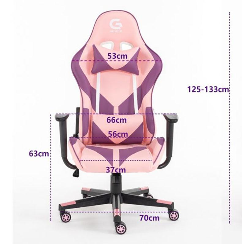 dimensiune-scaun de gaming cu design modern si ergonomic pe culoarea roz-081