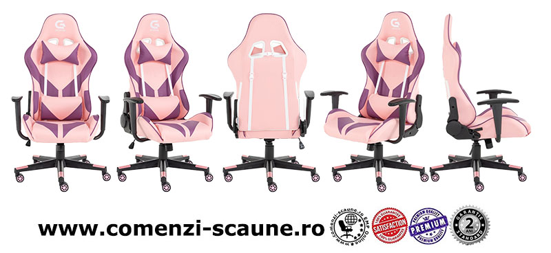 Scaune de gaming cu design modern si ergonomic pe culoarea roz-6