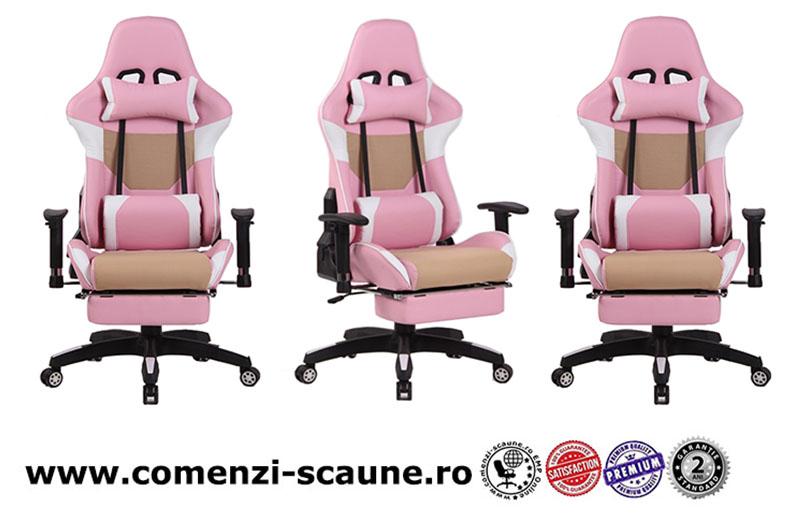 5 modele de scaune pentru birou si gaming pe culoarea roz-pink cu suport picioare