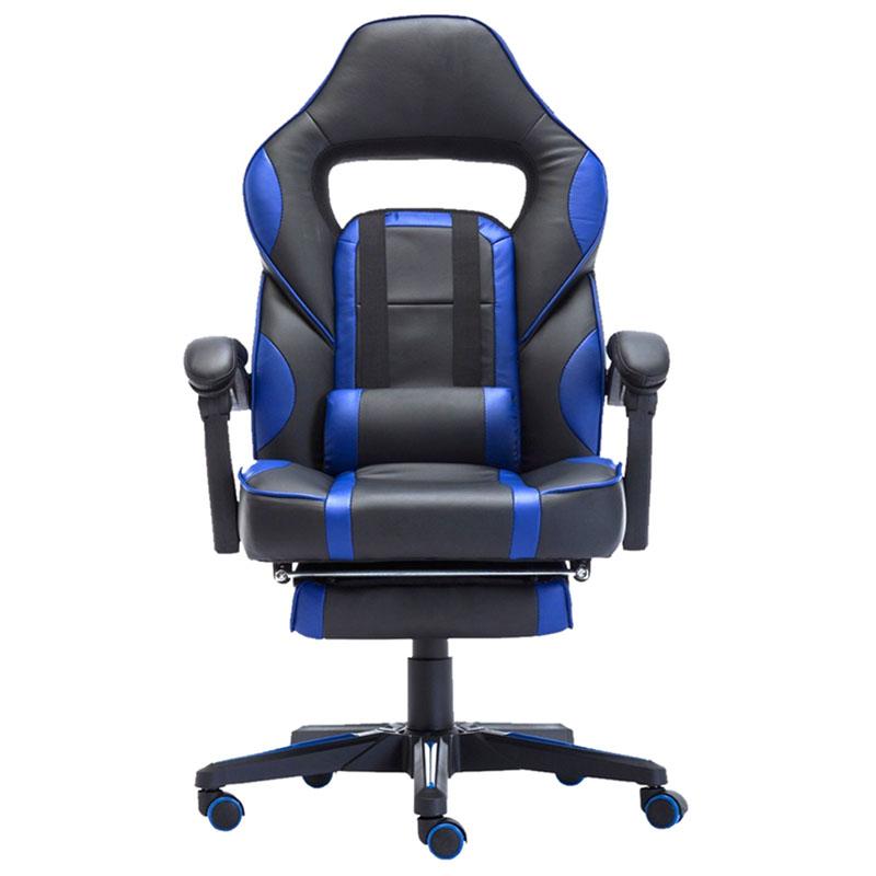 Scaun de gaming cu masaj și suport pentru picioare-albastru