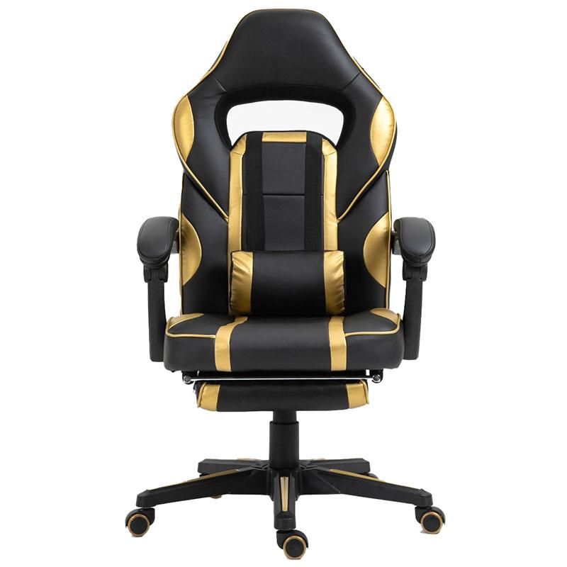 Scaun de gaming cu masaj și suport pentru picioare-auriu