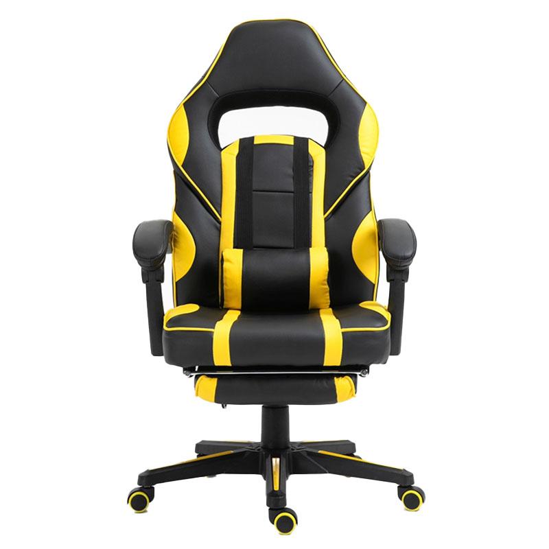 Scaun de gaming cu masaj și suport pentru picioare-galben