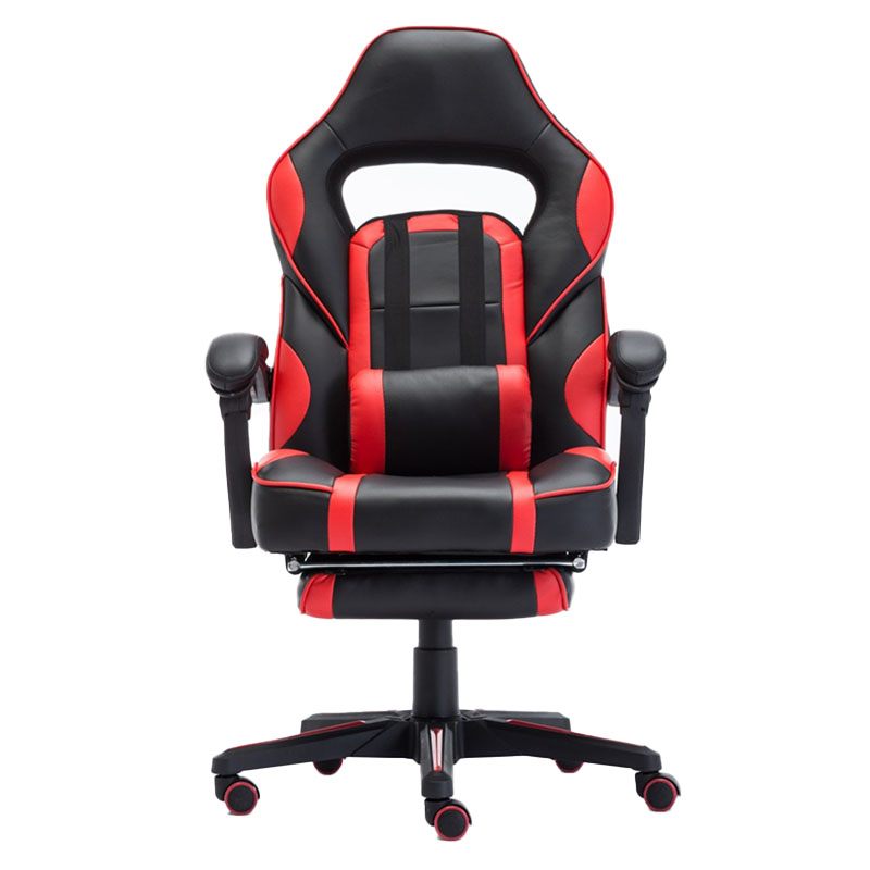 Scaun de gaming cu masaj și suport pentru picioare-rosu