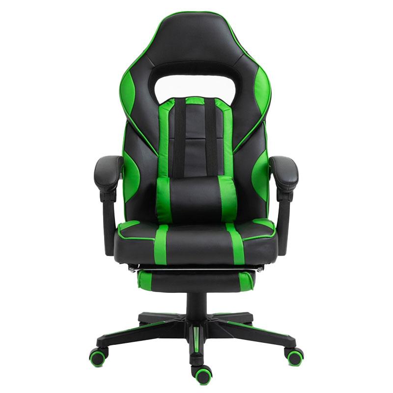 Scaun de gaming cu masaj și suport pentru picioare-verde