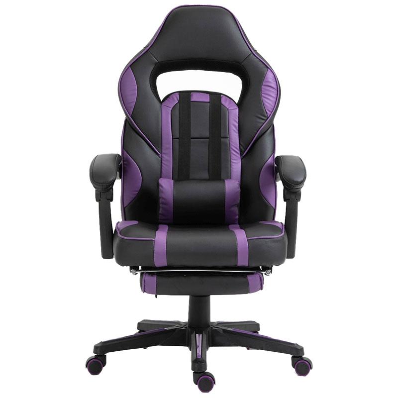 Scaun de gaming cu masaj și suport pentru picioare-mov