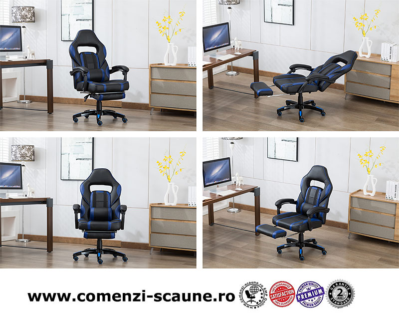 Scaun de gaming cu masaj și suport pentru picioare-albastru-1