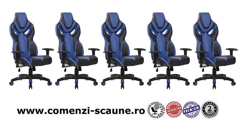 Scaune de gaming cu spatar ergonomic pe culoarea albastru-negru-8191-5