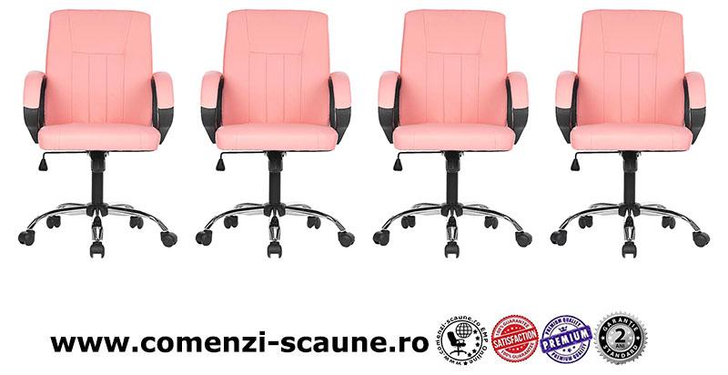 Scaun de gaming cu burete gros pe culoarea roz si alb-003-3