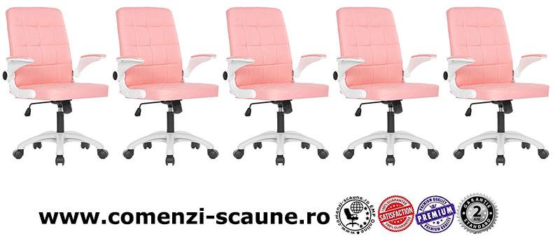 Scaune de birou din piele ecologica pe culoarea roz-025