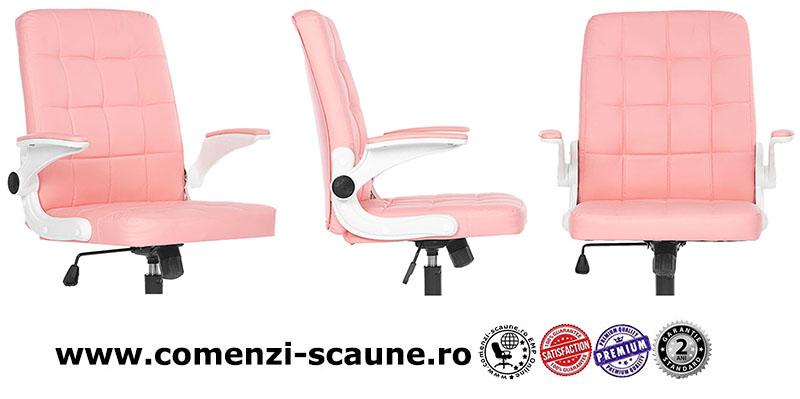 Moedel scaune de birou din piele ecologica pe culoarea roz-025