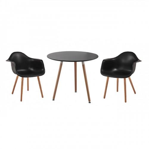 Set masa cu 2 scaune negru