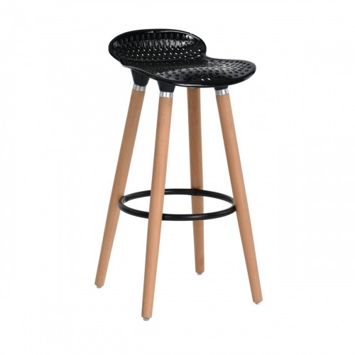 Scaune de bar cu picioare din lemn-sezut negru