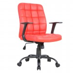 Scaun de birou tapitat cu piele ecologica-rosu