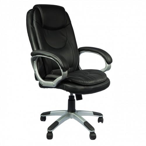 Scaun de birou clasic cu perne moi-negru