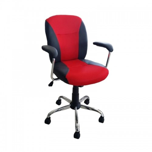 Scaun de birou tapitat cu piele ecologica si mesh-negru cu rosu